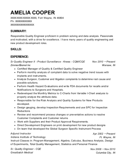 Sr Quality Engineer II Product Surveillance Knees CQM resume format Indiana
