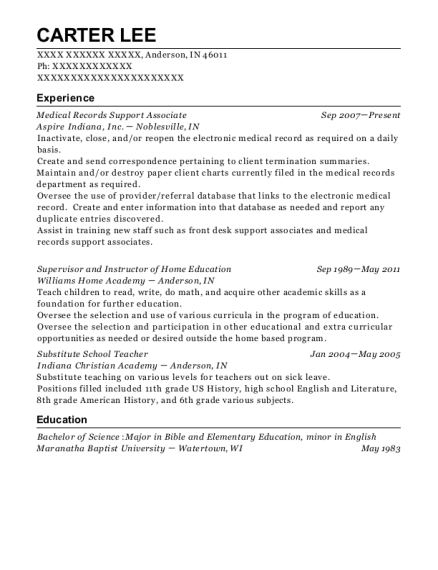 Medical Records Support Associate resume format Indiana