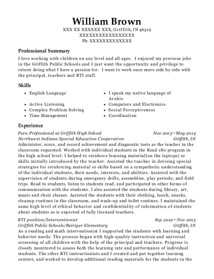 Para Professional at Griffith High School resume template Indiana