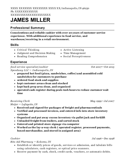 food service specialist resume format Indiana