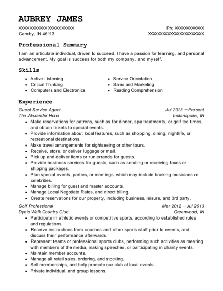 Guest Service Agent resume template Indiana