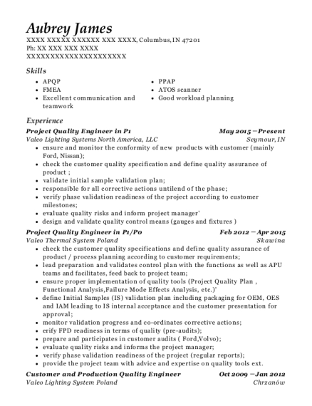 Project Quality Engineer in P1 resume example Indiana