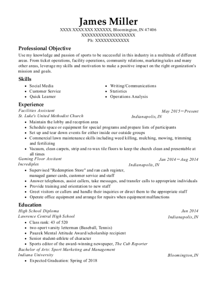 Facilities Assistant resume template Indiana