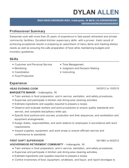 HEAD EVENING COOK resume template Indiana