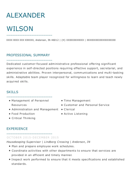 Housekeeping Supervisor resume format Indiana