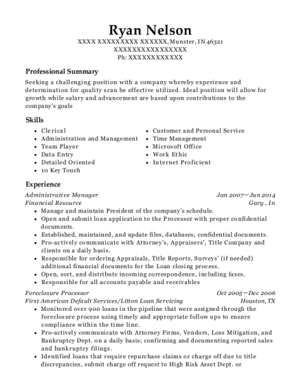 Administrative Manager resume sample Indiana