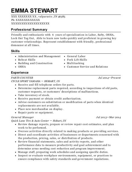 PARTS COUNTER resume format Indiana