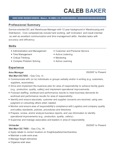 Area Manager resume template Indiana