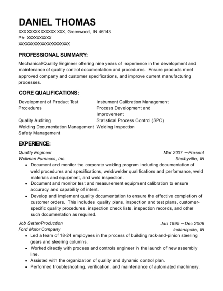 20 Best Quality Engineer Resumes Resumehelp