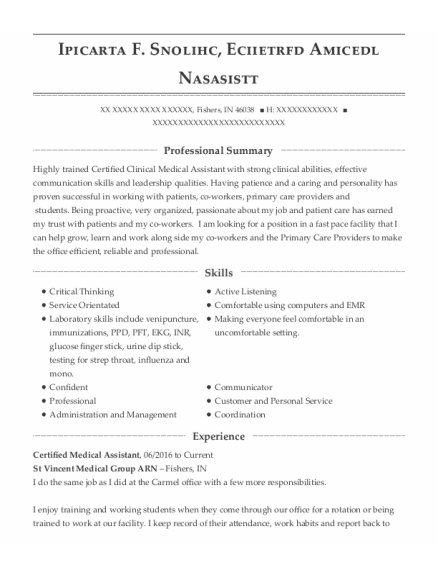Certified Clinical Medical Assistant resume format Indiana