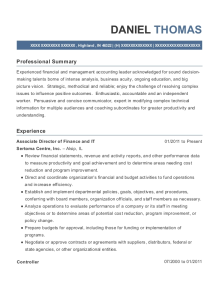 Associate Director of Finance and IT resume format Indiana