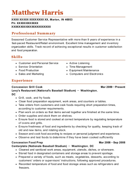 Concession Grill Cook resume sample Indiana