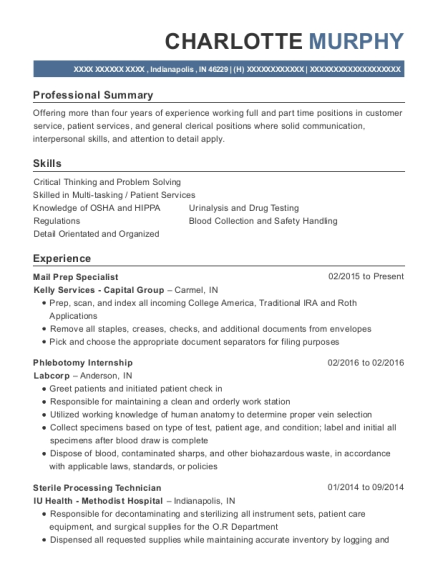 Kelly Services Capital Group Mail Prep Specialist Resume
