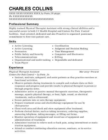 Physical Therapist Assistant resume format Indiana