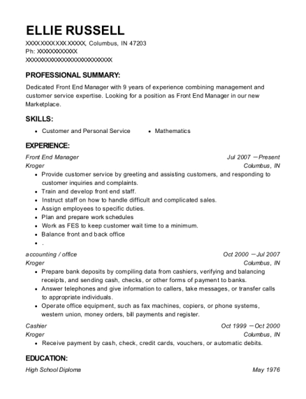 Front End Manager resume sample Indiana