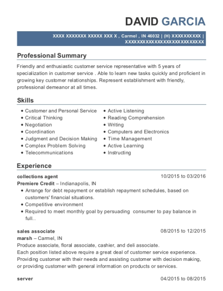 collections agent resume sample Indiana