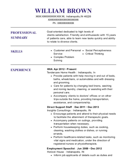 HHA resume sample Indiana