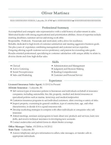 farmers insurance company insurance sales agent resume