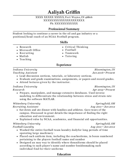 Teaching Assistant resume template Indiana