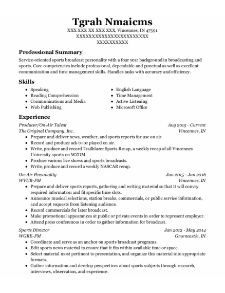 Senior News Anchor resume sample Indiana