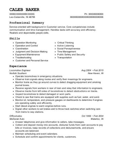 Locomotive Engineer resume template Indiana