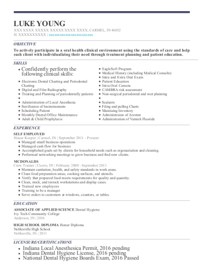 House Keeper resume sample Indiana