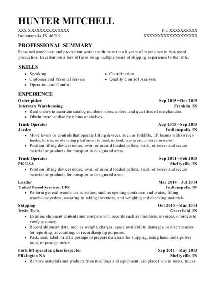 Order picker resume format Indiana