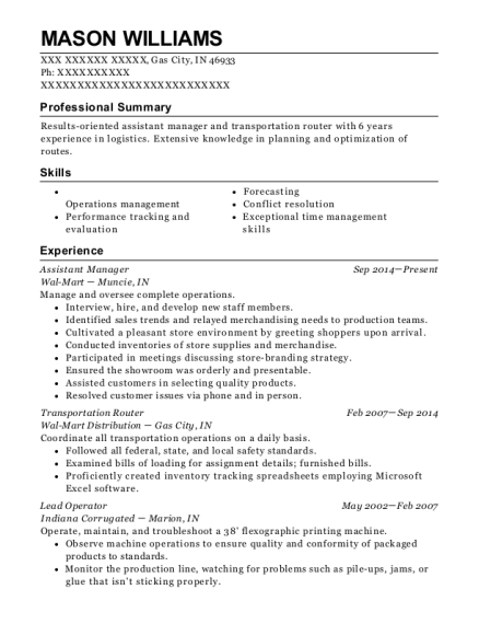 Assistant Manager resume example Indiana