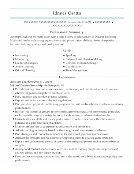 Assistant Coach resume example Indiana