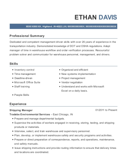 Shipping Manager resume sample Indiana