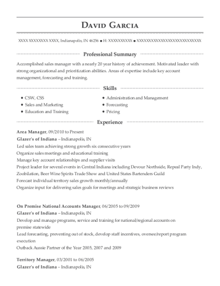 Area Manager resume format Indiana
