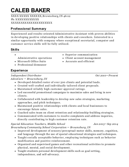 Independent Distributor resume example Indiana