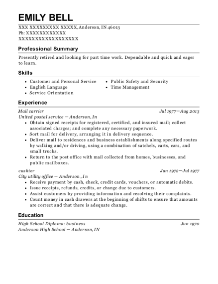 Mail carrier resume format Indiana