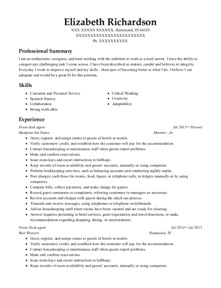 Front desk agent resume template Indiana