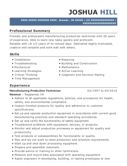 Manufacturing Production Technician resume template Indiana