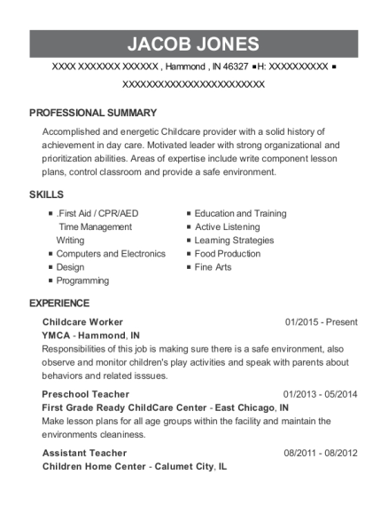 Childcare Worker resume sample Indiana