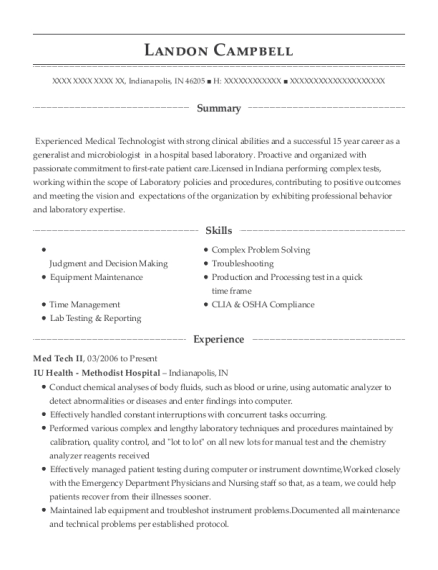 Med Tech II resume format Indiana