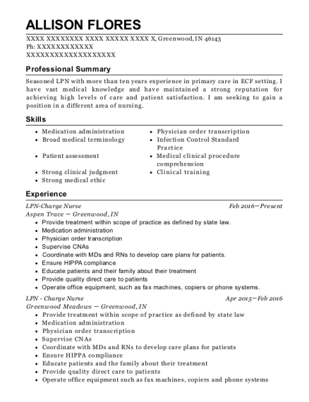 LPN Charge Nurse resume template Indiana