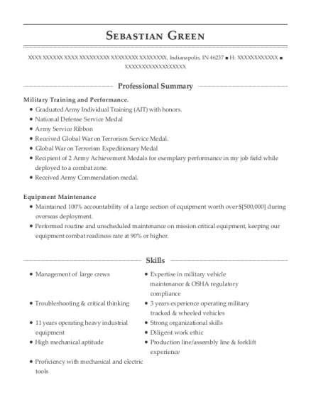 Operating Engineer resume example Indiana