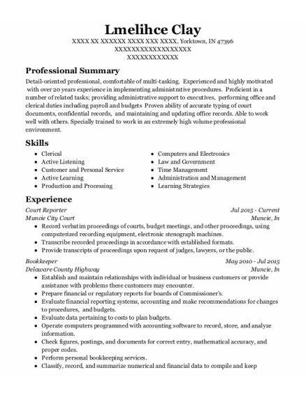 Court Reporter resume template Indiana