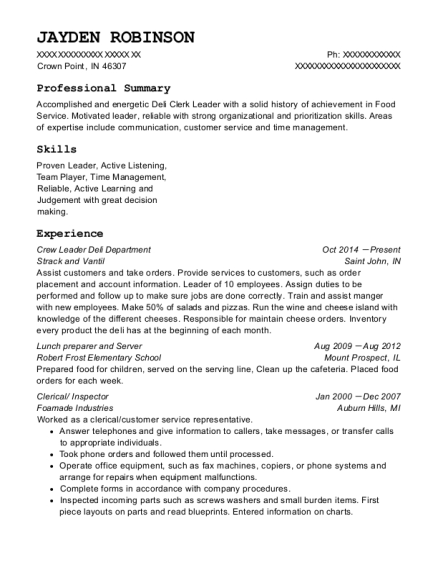 Crew Leader Deli Department resume format Indiana