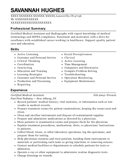 Certified Medical Assistant resume format Indiana