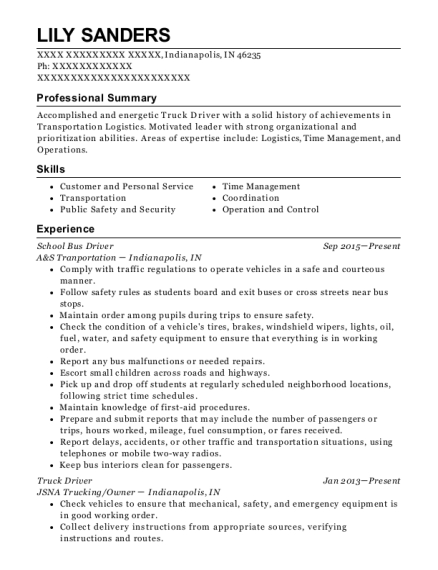 School Bus Driver resume template Indiana