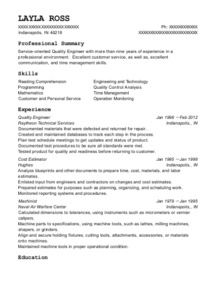 Quality Engineer resume example Indiana