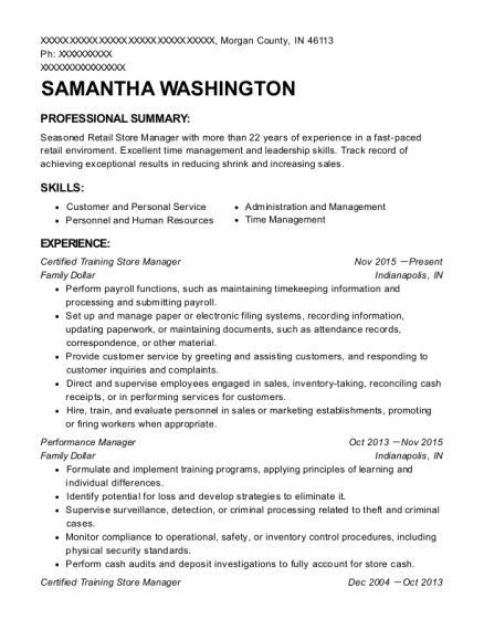 Certified Training Store Manager resume example Indiana