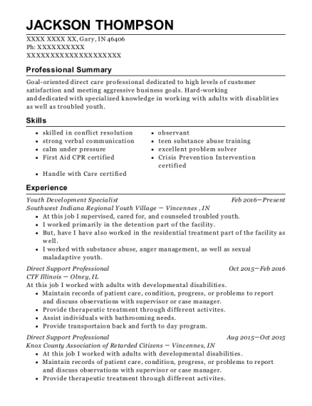 Youth Development Specialist resume format Indiana