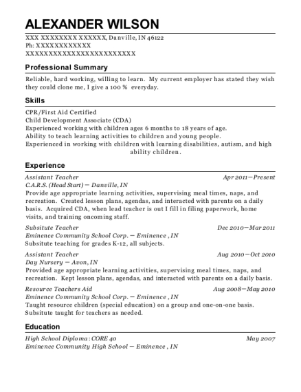 Assistant Teacher resume template Indiana