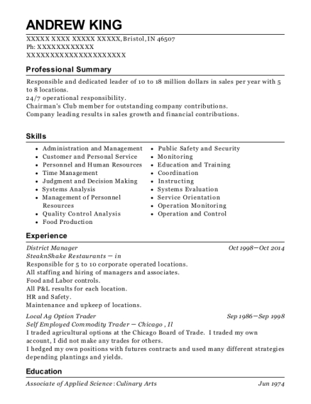 District Manager resume template Indiana