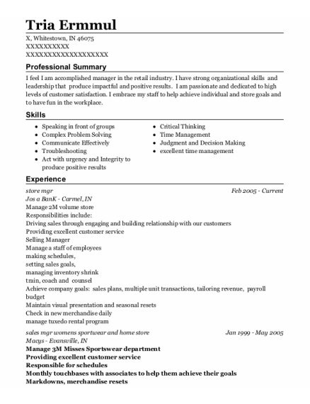 Store Mgr resume template Indiana