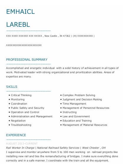 Freight Conductor resume template Indiana